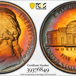 1990-S Jefferson Nickel PR68DCAM PCGS 'Blue Crescent'