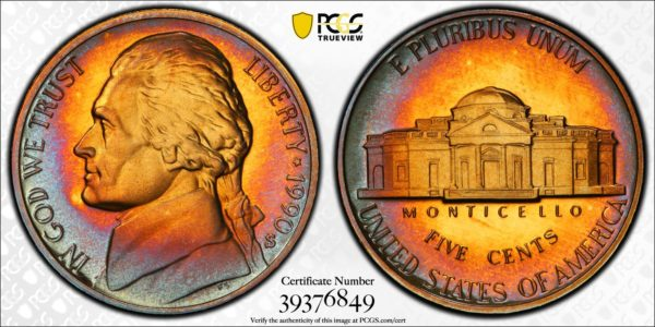 1990-S Jefferson Nickel PR68DCAM PCGS 'Blue Crescent'