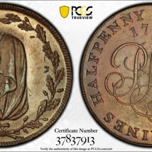 Wales 1791 Halfpenny Token Druid Head-PMCo Cypher DH-387 Bronzed Copper PR63BN PCGS