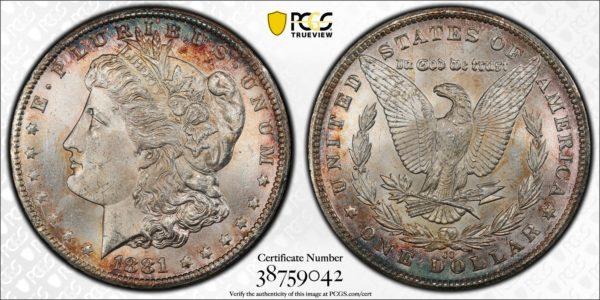 1881-CC Morgan Dollar, VAM-2, Beautiful Rim-Toned MS64 PCGS Example