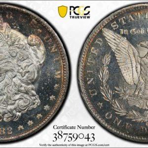 1882-CC Morgan Dollar VAM-2C MS64DMPL, Nice Hit List 40 DMPL Color Coin