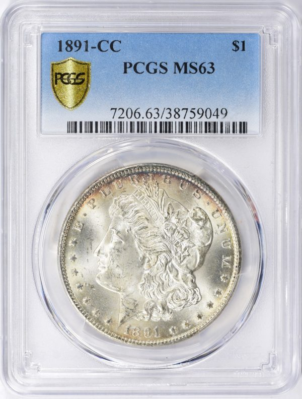 1891-CC Morgan Dollar MS63 PCGS Nicely Toned VAM-3 'Spitting Eagle'