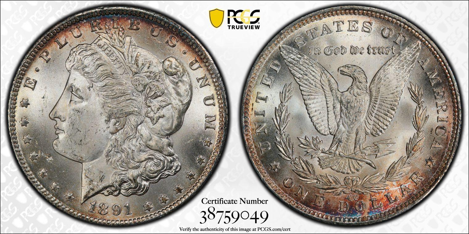 1891-CC Morgan Dollar MS63 PCGS, Nicely Toned VAM-3 'Spitting Eagle'