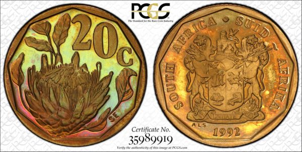 South Africa 1992 20 Cents PR67RB PCGS Pop 3/0 Outrageously Gorgeous