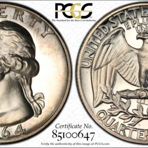 1964 Washington Quarter, Lightly Toned PR67 PCGS