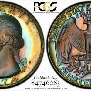 1974-S Washington Quarter, Jade-Toned PR68DCAM PCGS