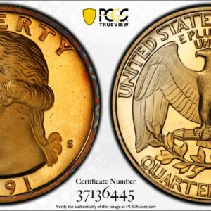 1991-S Washington Quarter, Gold-Toned PR68DCAM PCGS