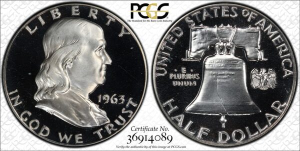 1963 Franklin Half, Black and White Near-Cameo PR67 PCGS