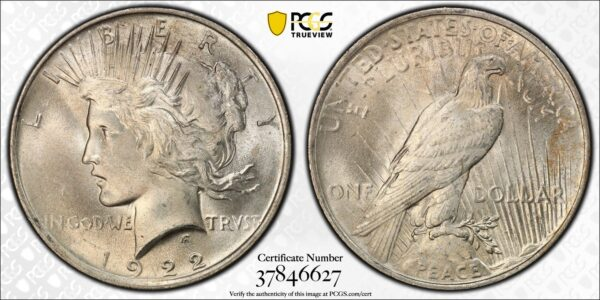 1922 Peace Dollar, Champagne-Gold MS65 PCGS