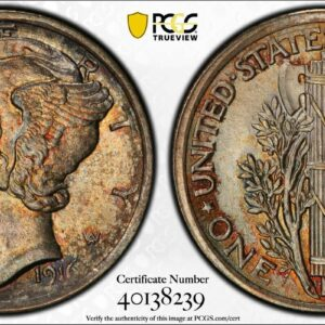1916 Mercury Dime, First-Year MS66FB PCGS 'Crimson Sunset'