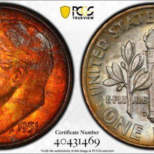 1951-D Roosevelt Dime MS66FB PCGS 'Hazel Crimson'