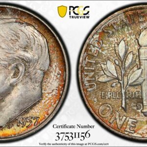 1957-D Roosevelt Time MS67FB PCGS Jade Orange' Pop 8 Finer