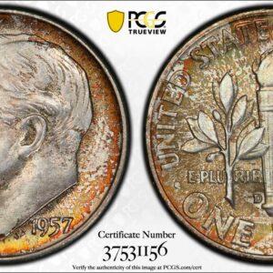 1957-D Roosevelt Time MS67FB PCGS Jade Orange' Pop 8 Finer