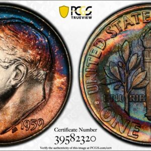 1959 Roosevelt Dime MS66 PCGS, Gorgeous Bull's-Eye Toning