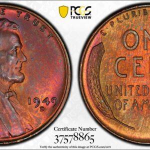 1949-D Lincoln Cent MS65RB PCGS 'Orange Fuchsia'