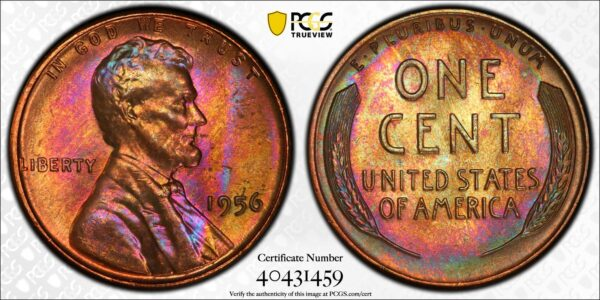 1956 Lincoln Cent MS66BN PCGS 'Pink Honey'