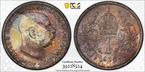 Austria 1916 Silver One Corona, Emperor Franz Joseph I, Toned MS65 PCGS