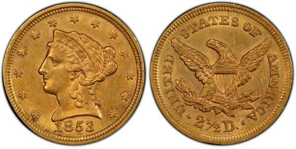 1853 Quarter Eagle, Original Choice AU PCGS
