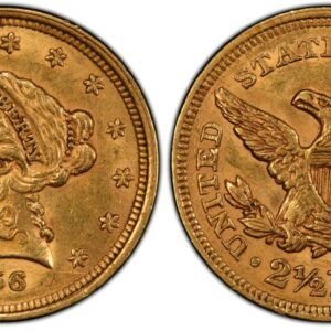 1856 Quarter Eagle, Orange-Gold, Lustrous AU58 PCGS
