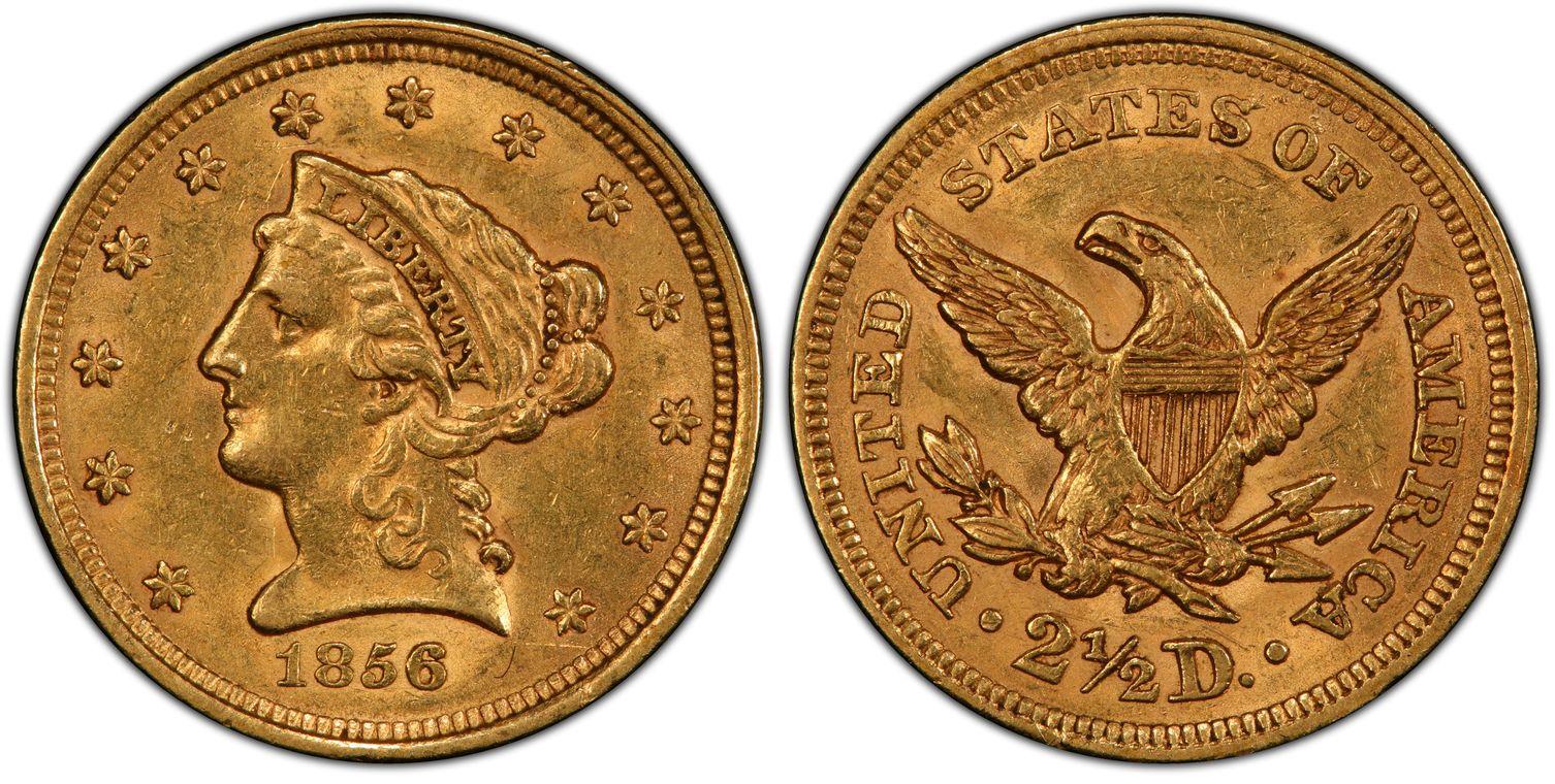 1856 Quarter Eagle, Orange-Gold, Lustrous AU58 PCGS