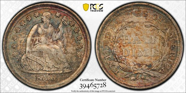 Lovely Toned 1856 Half Dime MS62 PCGS, Great Type Coin