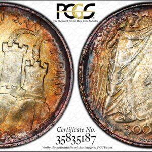 San Marino 1976 500 Lire Social Security MS67 PCGS Beautiful Color