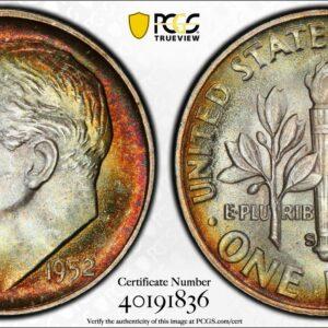 1952-S Roosevelt Dime MS67 PCGS 'Crescent Orange'