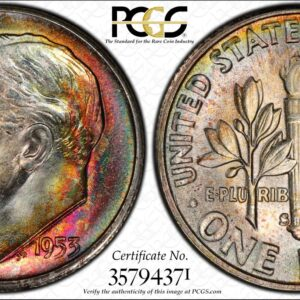 1953-S Roosevelt Dime MS67 PCGS 'Candy Cane'