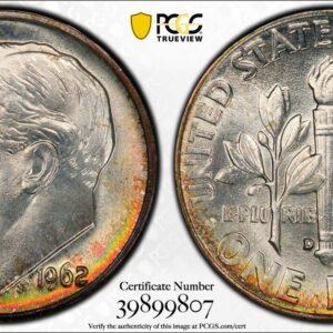 1962-D Roosevelt Dime MS67 PCGS 'Emerald Fire'