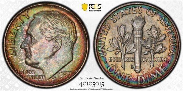 1957-D Roosevelt Dime MS67 PCGS 'Fields of Green'