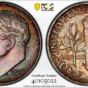 1958-D Roosevelt Dime, Multicolor MS65FB PCGS