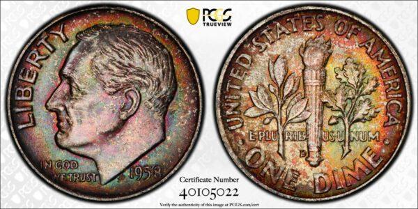 1958-D Roosevelt Dime, Multicolor MS65FB PCGS