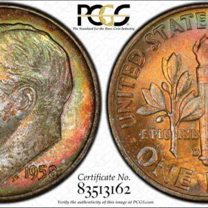 1958-D Roosevelt Dime MS67 PCGS 'Orange Crush'