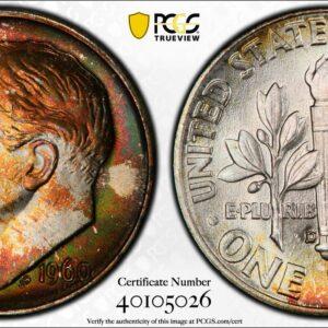 1960-D Roosevelt Dime MS66 PCGS 'Violet Splash'