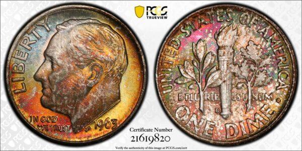 1963-D Roosevelt Dime MS67 PCGS 'Saffron Sun'