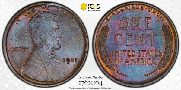 1911 Lincoln Cent MS65BN PCGS CAC
