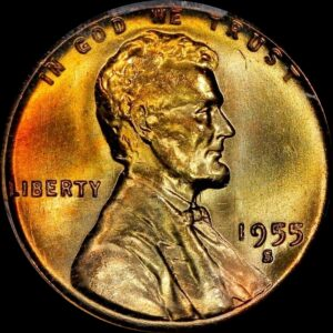 1955-S Cent, Fiery Red-Yellow Die-Polished MS66RB PCGS