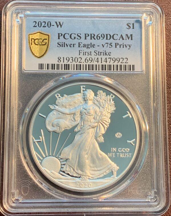 2020-W American Silver Eagle V75 Privy PR69DCAM PCGS First Strike
