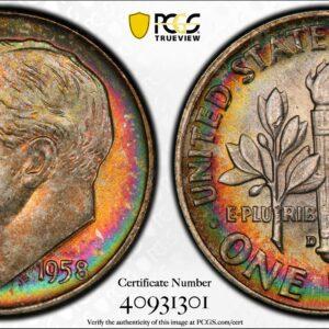1958-D Roosevelt Dime MS67+FB PCGS 'Crayola'