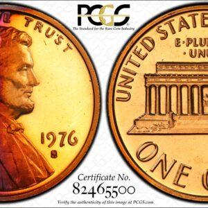 1976-S Lincoln Cent, Gorgeous PR67RB PCGS Bicentennial Cent
