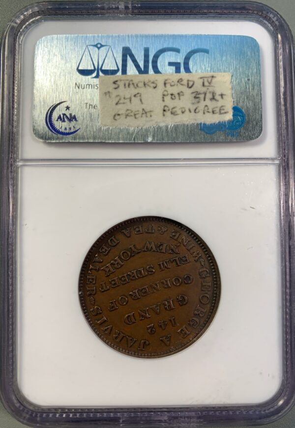 1837 HT-284 Hard Times Token Geo A Jarvis Ex Boyd Ford MS64BN NGC