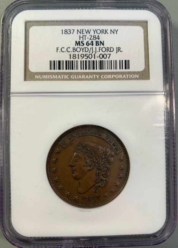 1837 HT-284 Hard Times Token Geo A Jarvis MS64BN NGC Ex Boyd Ford