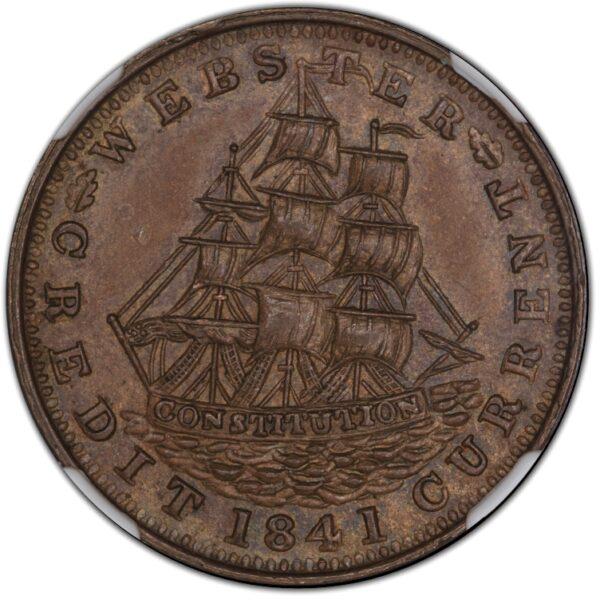 1841 Daniel Webster Hard Times Token HT-23 MS63BN NGC