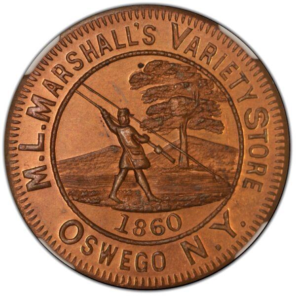 1860 Oswego NY Merchant Token ML Marshall MS65RB NGC