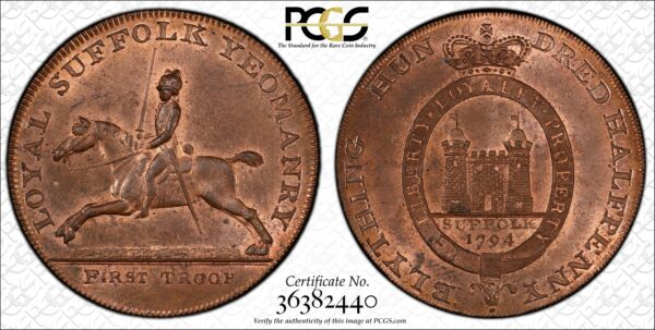 Great Britain 1794 Halfpenny Conder Token, Suffolk, Blything, Yeomanry-Castle DH-19, MS64RB PCGS