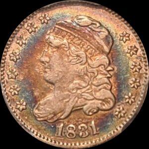 1831 Half Dime, Blue Toner, VF35 PCGS