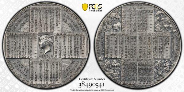 Austria 1935 Silver Calendar Medal SP64 Matte Finish PCGS