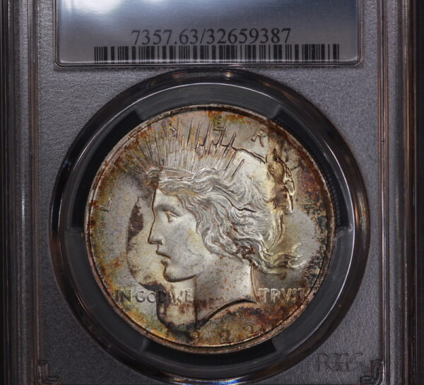 1922 Peace Dollar MS63 PCGS, Interesting End-Roll Toning