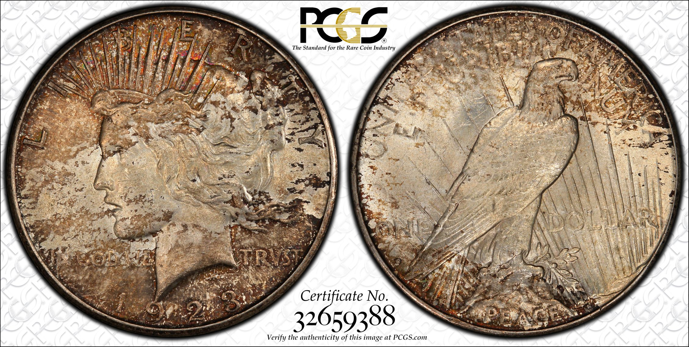 1923-S Peace Dollar, Toned MS63 PCGS