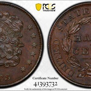 1833 Half Cent MS62BN PCGS